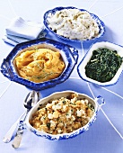 Four Assorted Side Dishes; Mashed Potatoes, Sweet Potatoes, Spinach and Pearl Onions