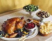 Thanksgiving Buffet with Turkey on a Platter with Bowl of Cranberry Sauce and Side Dishes