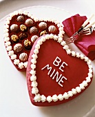 Assorted Chocolates in a Heart Shaped Cake that Says Be Mine for Valentines Day