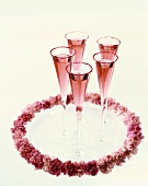 Pink Champagne in Champagne Flutes with Pink Sugared Rims; Pink Flowers