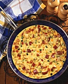 Overhead of Vegetable and Ham Frittata in Skillet
