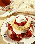 Strawberry Shortcake on a Plate with a Cup of Tea