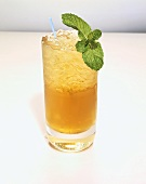 Glass of Mint Julep on the Rocks with a Straw and Mint Garnish