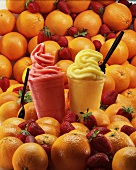 Orange and strawberry smoothies