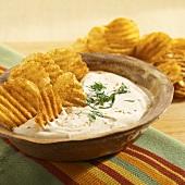 Home-made potato crisps with dip