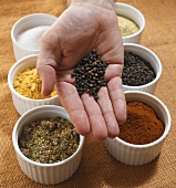 Peppercorns in someone's hand and small bowls of spices