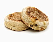 Two English muffins with cinnamon and raisins