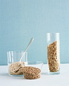 Barley, Buckwheat and Wheatberries in Glass Containers