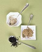 Quinoa, Weizen und Wildreis von oben
