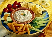 Vegetable Platter with Vegetable Dip and Tortilla Chips