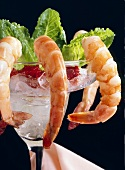 Shrimp Cocktail Served in Margarita Glass with Ice and Cocktail Sauce