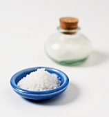 Sea salt in a small blue bowl