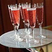 Several glasses of Strawberry Sekt