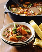 Hearty vegetable stew with cornbread
