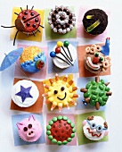 Assorted decorated cupcakes for children