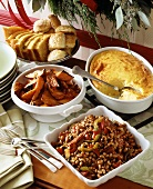 Christmas Buffet with Black Eyed Peas, Corn Pudding & Sweet Potato