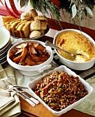 Christmas Buffet with Black Eyed Peas, Corn Pudding & Sweet Potato