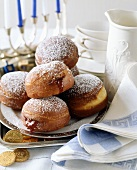 Jam doughnuts and chocolate coins for Hanukkah