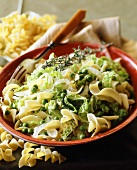 Pasta spirals with savoy cabbage and peas
