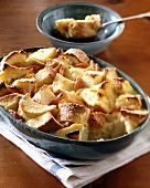 Bread and butter pudding with apricots