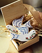 Biscuits in shape of doves to give as a gift