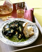 Steamed mussels in herb butter sauce
