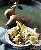 Salad of endive, pears, Gorgonzola and walnuts