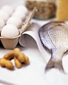 Still life with eggs, gilthead bream and peanuts