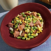 Skillet Casserole with Ham, Edamame, Lima Beans and Corn in a Bowl