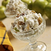Cottage Cheese with Golden Raisins, Apples and Walnuts in Small Bowls