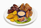 Barbecue Combo Dinner, Spare Ribs, Chicken, Sliced Potatoes and Dipping Sauce
