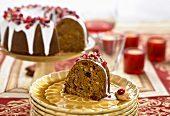 Cranberry nut cake with glacé icing