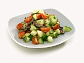 Cucumber salad with tomatoes and olives