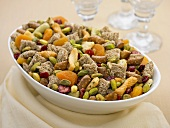 Large Bowl of Trail Mix Made with Pistachios, Shredded Wheat and Dried Fruit