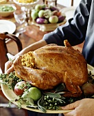 Stuffed turkey with accompaniments