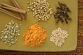 Six different Indian spices