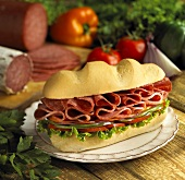 Large Club Sandwich on a Sub Roll on Plate, Ingredients