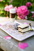 Chocolate drink, chocolate truffle and cake for wedding