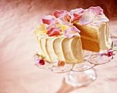 Lemon Cake with Rose Decorations