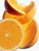 Sliced Seedless Orange on White