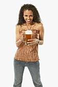 Young Woman holding Mug of Beer
