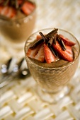 Chocolate Mousse with Strawberries and Chocolate Shavings