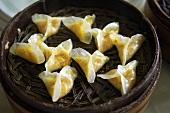 Pumpkin Dumplings in a Bamboo Steamer