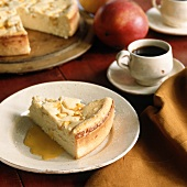 A piece of apple cheesecake and coffee (USA)