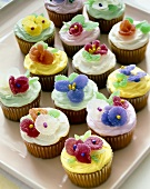 Platter of Cupcakes Decorated with Sugar Blossoms