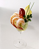 Shrimp Cocktail with a Lobster Claw in a Stem Glass with Greens; White Background