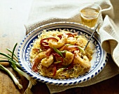 Shrimp and Peppers on a Rice Noodle Shell