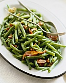 Side Dish, Platter of Green Beans with Bacon, Two Forks