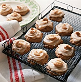 Frosted Cookies with Cashews on a Cooling Rack