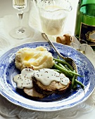 Roast Pork Loin with Mashed Potatoes, Green Beans and Champagne